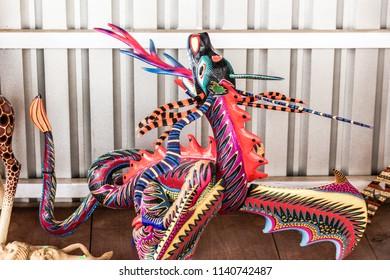San Antonio Arrazola, Oaxaca / Mexico - 21/7/2018:  (Traditional alebrijes handcrafts, made by the indigenous people of San  Antonio Arrazola Oaxaca Mexico)