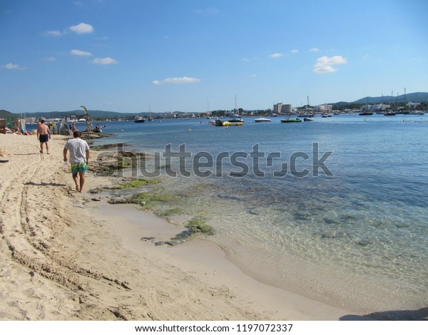 San Antonio Bay Ibiza Beach Scene Stock Photo (Edit Now