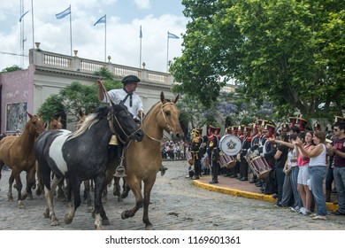 San Antonio de Areco, province Buenos Aires, Argentina - November 11, 2012: Gaucho (South American cowboy) drives a herd of horses through the town center during the Traditional Gauchos Feast