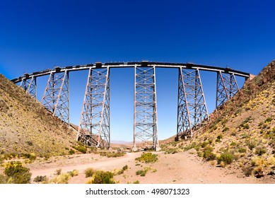 San Antonio de los Cobres, Argentina - 31st March 2016. Viaducto La Polvorilla  is the name given to the best known of the viaducts through which passes the Train to the Clouds - then a las nubes