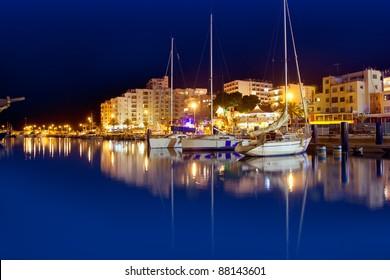 San Antonio de Portmany night port view in Ibiza island
