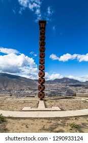 San Antonio, Ecuador, July 2018: Cerro Catequilla, archaeological site where is the true half of the world, visited by tourists throughout the year.