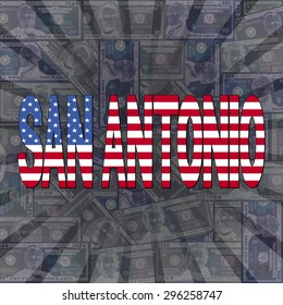 San Antonio flag text on dollars sunburst illustration