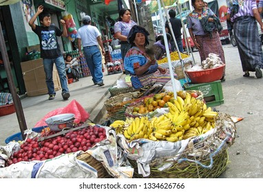 SAN ANTONIO PALOPO, GUATEMALA-MAY 15, 2007:  A skewed view of an outdoor market in this tiny village where traditional clothing is still worn by the women.