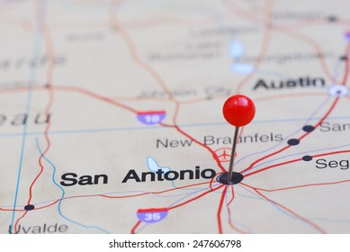 San Antonio pinned on a map of USA