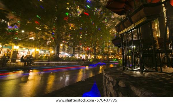 Riverwalk San Antonio Christmas.San Antonio Riverwalk Long Exposure Christmas Stock Photo