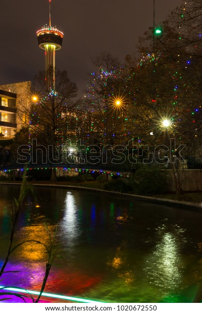 San Antonio Riverwalk During Christmas.San Antonio Riverwalk Night Christmas Time Stock Photo Edit