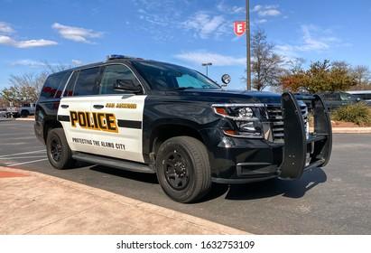 SAN ANTONIO, TEXAS - 01/31/2020 - San Antonio Police cruiser. Protecting The Alamo City