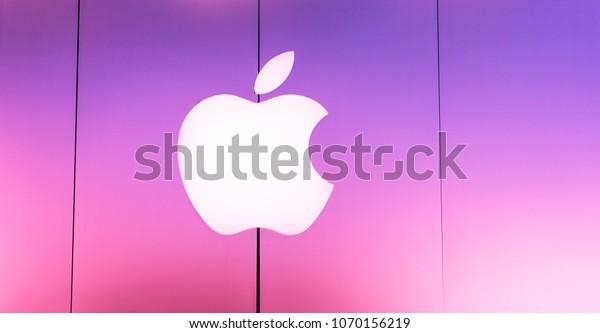 SAN ANTONIO, TEXAS - APRIL 12, 2018 - The Apple logo at the entrance of the Apple store located at La Cantera Mall in San Antonio
