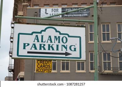 San Antonio, Texas - April 18, 2018: Alamo Parking sign at Alamo Plaza in San Antonio Texas.
