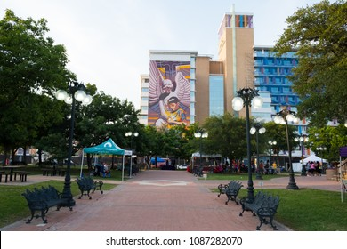 San Antonio, Texas - April 18, 2018: Mural painted on the side of a hotel building to commemorate San Antonio's tricentennial year and 300th anniversary.