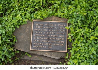 San Antonio, Texas - April 18, 2018: Plaque commemorating the spot where William B Travis was killed during the Battle of the Alamo.