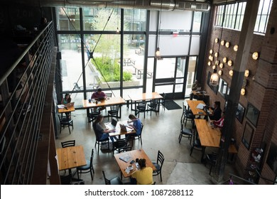 San Antonio, Texas - April 18, 2018: Rosella Coffee Company, located in an industrial building that has been renovated to work as a coffeeshop downtown.