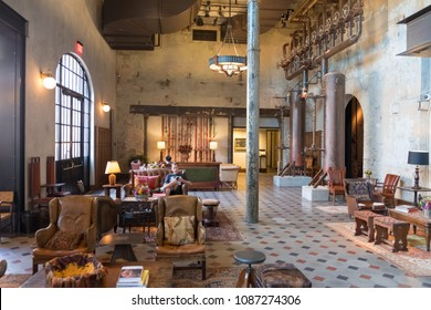San Antonio, Texas - April 19, 2018: Interior of the historic Hotel Emma, a modern hotel created from an extremely old factory building in the Historic Pearl District of San Antonio.