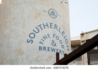 San Antonio, Texas - April 19, 2018: Southerleigh Brewery is a craft beer brewery and restaurant at the Historic Pearl in San Antonio.