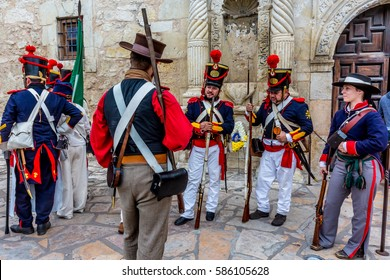 """SAN ANTONIO, TEXAS - MARCH 6, 2016:  The """"Dawn of the Alamo"""" (C) Annual Commemorative Ceremony and Re-enactment of the first day of Battle at the Historic Alamo."""