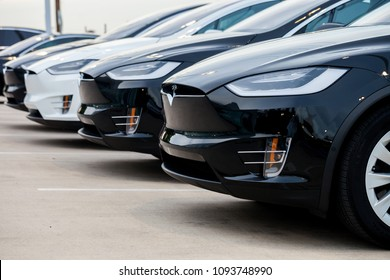 SAN ANTONIO, TEXAS - MAY 17, 2018 - Row of new Model S Tesla cars parked in fron of dealership