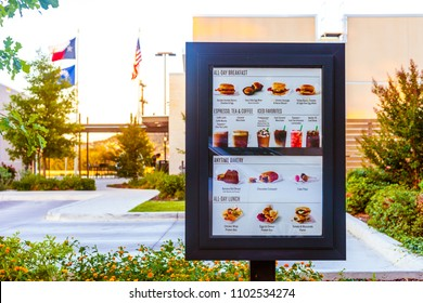 SAN ANTONIO, TEXAS - MAY 29, 2018 - Starbucks drive thru menu at one of the company's locations in San Antonio, Texas.