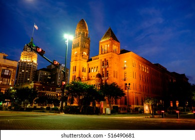 SAN ANTONIO, TEXAS - Nov 11, 2016: The Bexar County Courthouse in San Antonio, Texas, at night. The historic building borders Main Plaza in the downtown area.