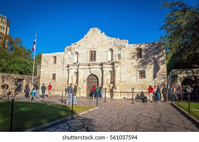 SAN ANTONIO, TEXAS- NOV 19, 2016: The Alamo Mission in San Antonio, Texas on November 19, 2016