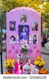 SAN ANTONIO, TEXAS - NOVEMBER 2, 2018 - Day of the Dead altar commemorating Selena Quintanilla-Pérez, an American singer, songwriter, spokesperson, model, actress, and fashion designer.