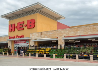 SAN ANTONIO, TEXAS - NOVEMBER 9, 2018 - Entrance of the HEB Supermarket store. H-E-B is an American privately held supermarket chain based in San Antonio, Texas.