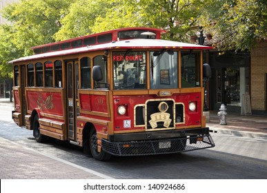SAN ANTONIO, TEXAS - SEPTEMBER 15: Heritage street-car on Red Route, which runs along Houston, Alamo, Market st. etc. is used by tourists and locals, on September 15, 2011 in San Antonio, Texas USA.