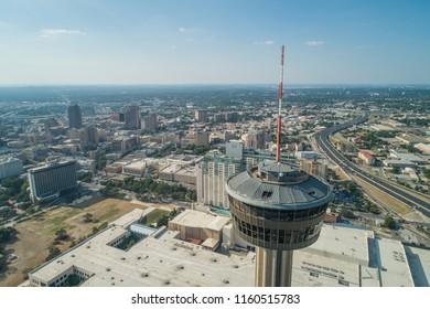 SAN ANTONIO, TEXAS, USA - AUGUST 1, 2018: Aerial image Tower of the Americas San Antonio texas