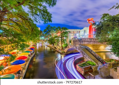 San Antonio, Texas, USA cityscape on the River Walk.