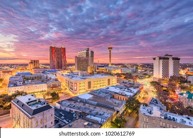 San Antonio, Texas, USA downtown city skyline at dusk.