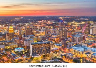 San Antonio, Texas, USA downtown skyline from above at dusk.