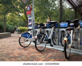 San Antonio, Texas, USA - November 7 2019: SWell electric public bike system station