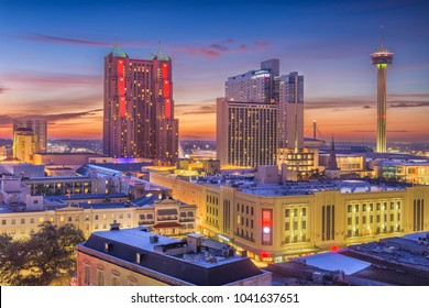 San Antonio, Texas, USA Skyline at dusk.