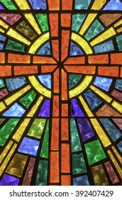 SAN ANTONIO, TEXAS/USA - March 1, 2016: Part of stained glass window in Little Church of La Villita, a Gothic Revival chapel built in 1879 and popular today for weddings near the River Walk.