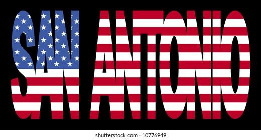 San Antonio text with American flag illustration