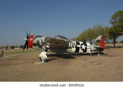 "SAN ANTONIO, TX - AUGUST 21: P-47 ""Thunderbolt"" World War II fighter plane on static display at Lackland AFB on August 21, 2011 in San Antonio, Texas."