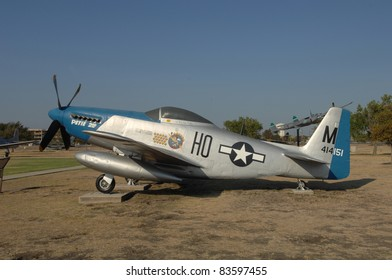 "SAN ANTONIO, TX - AUGUST 21: P-51 ""Mustang"" World War II fighter plane on static display at Lackland AFB on August 21, 2011 in San Antonio, Texas."