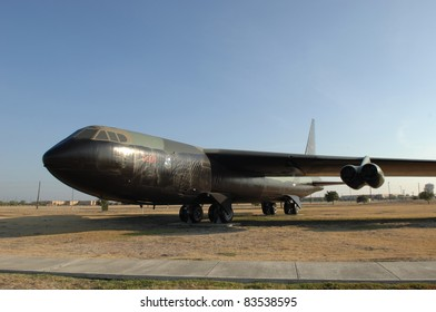 "SAN ANTONIO, TX - AUGUST 21:B-52 ""Stratofortress"" cold War nuclear Bomber jet on static display at Lackland AFB on August 21, 2011 in San Antonio, Texas."