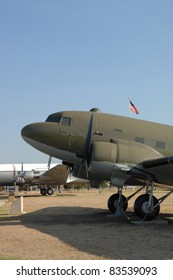 "SAN ANTONIO, TX - AUGUST 21:C-47 ""Skytrain"" World War II transport on static display at Lackland AFB on August 21, 2011 in San Antonio, Texas."