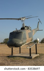 "SAN ANTONIO, TX - AUGUST 21:UH-1B ""Huey"" helicopter on static display at Lackland AFB on August 21, 2011 in San Antonio, Texas."