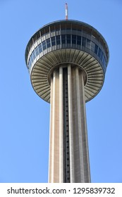 SAN ANTONIO, TX - OCT 14: Tower of the Americas in San Antonio, Texas, as seen on Oct 14, 2018. It was built as the theme structure of the 1968 World's Fair, HemisFair '68.