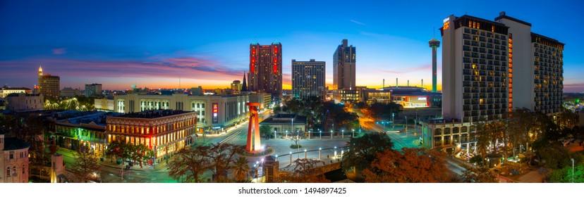 SAN ANTONIO, TX, USA - DEC. 11, 2018: San Antonio city skyline panorama at sunrise twilight in downtown San Antonio, Texas, USA. The skyline in this photo includes Marriott Rivercenter