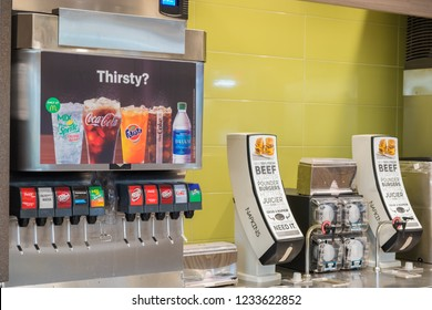 SAN ANTONIO, TX, USA - NOVEMBER 9, 2018 - Fountain drinks machine at McDonald's restaurant.