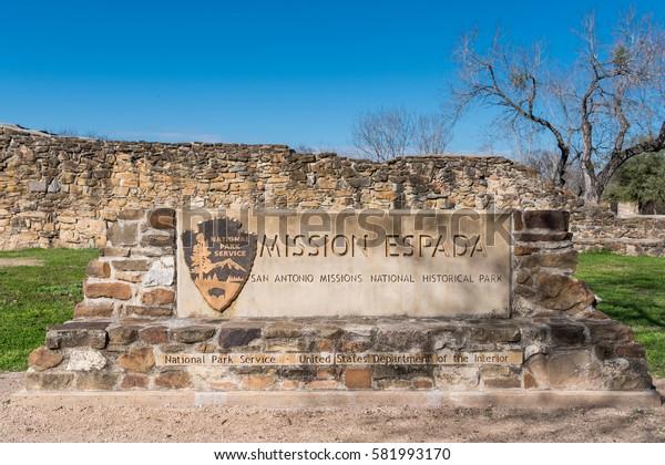 San Antonio, United States: January 1, 2017: Mission Espada Sign along the San Antonio Mission Trail