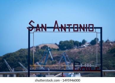 San Antonio/Chile: 09/04/2019: Big Welcome message close to the port in San Antonio/Chile