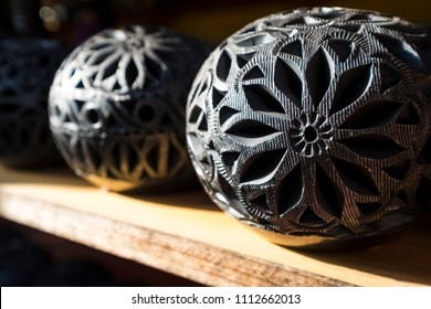 San Bartolo Coyotepec, Oaxaca, Mexico - October 11, 2017: Traditional crafts made in black clay in the craft workshop of Dona Rosa in  the town of San Bartolo Coyotepec in the state of Oaxaca
