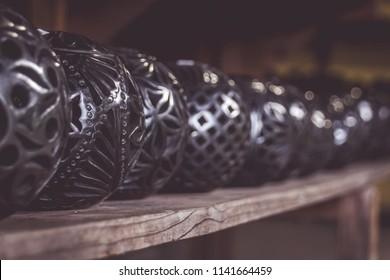 San Bartolo Coyotepec, Oaxaca / Mexico - 21/7/2018:  (Traditional black clay handcrafts from San Bartolo Coyotepec Oaxaca Mexico)