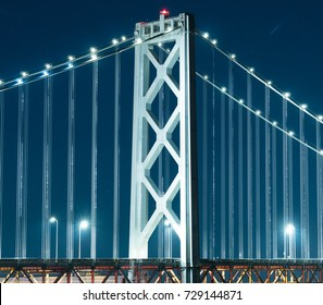 The San Francisco–Oakland Bay Bridge at night