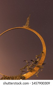 SAN BENEDETTO DEL TRONTO, ITALY - June 15, 2015: night view of monument to the freedom symbol seagull Jonathan Livingston by artist Mario Lupo. South pier of port, sky background