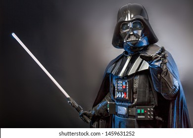 SAN BENEDETTO DEL TRONTO, ITALY. MAY 16, 2015. Portrait of Darth Vader costume replica . Darth Vader or Dart Fener is a fictional character of Star Wars saga.